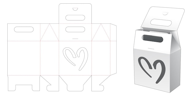 Cardboard handle bag with heart shaped window die cut template