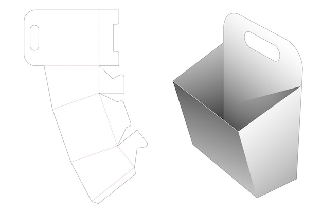 Cardboard handle snack container die cut template