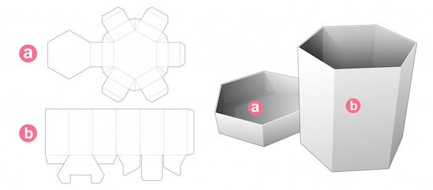 Cardboard hexagonal box and lid die cut template