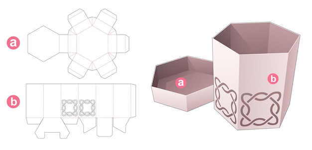 Cardboard hexagonal box and lid with stenciled curved line die cut template