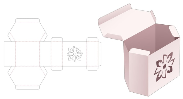 Картонная шестиугольная коробка с трафаретом мандалы высечки шаблон