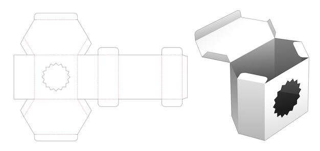 Cardboard hexagonal box with multi-pointed star window die cut template