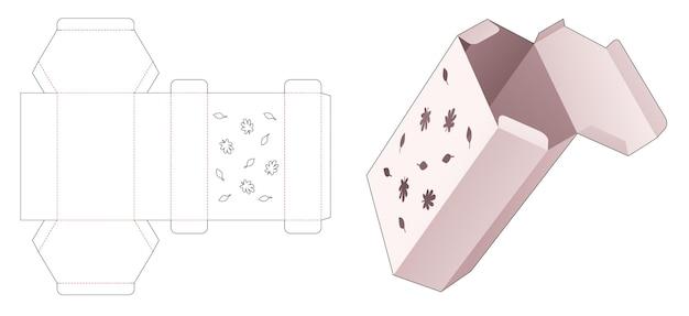 스텐실 가을 패턴 다이 컷 템플릿이 있는 판지 육각형 상자