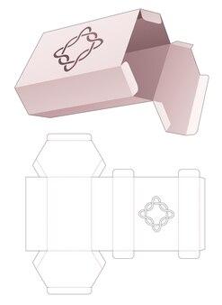 스텐실 곡선 다이 컷 템플릿이있는 골판지 육각 상자