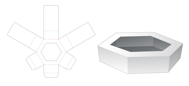 Cardboard hexagonal tray die cut template