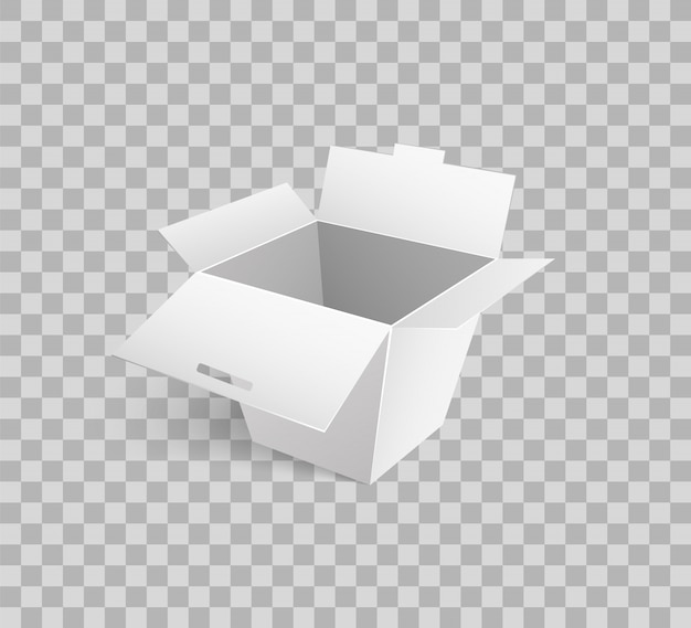 Cardboard icon mockup of carton box 3d isometric