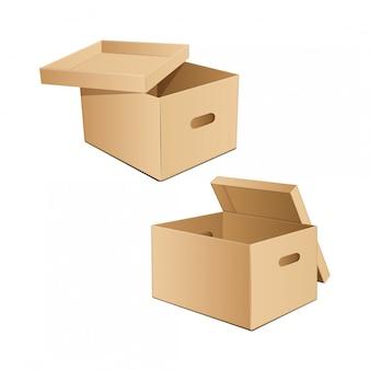 手用の穴の開いた段ボール箱。