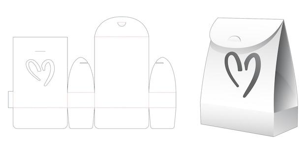 ハート型のウィンドウダイカットテンプレートと段ボール包装袋