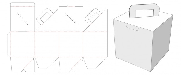 Cardboard packaging box with holder die cut template