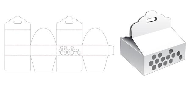 リボン穴と六角形のウィンドウダイカットテンプレートと段ボール包装箱