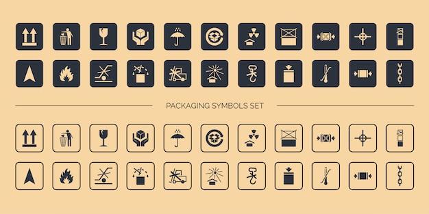 Cardboard packaging symbols set