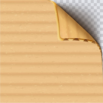 Cardboard paper sheet realistic vector square background. brown corrugated carton with curled corner on transparent backdrop. clear craft paper blank close up. beige paperboard texture