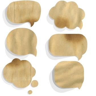 Cardboard paper speech bubble, isolated on white background,
