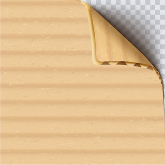 Cardboard paper with curled corner realistic vector square background. brown corrugated carton blank surface close up. clear craft paper sheet . beige paperboard texture