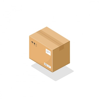 Cardboard parcel package box isometric icon 3d cartoon isolated