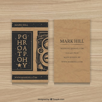 Cardboard photography business card