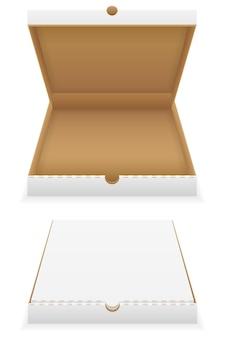 Картонная коробка для пиццы пустой шаблон на белом