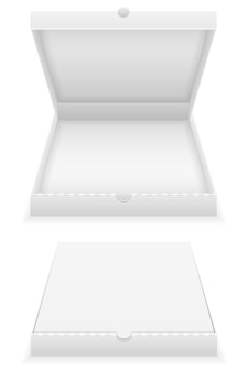 Cardboard pizza box empty template on white