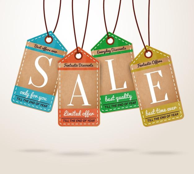 Cardboard price tags sale labels