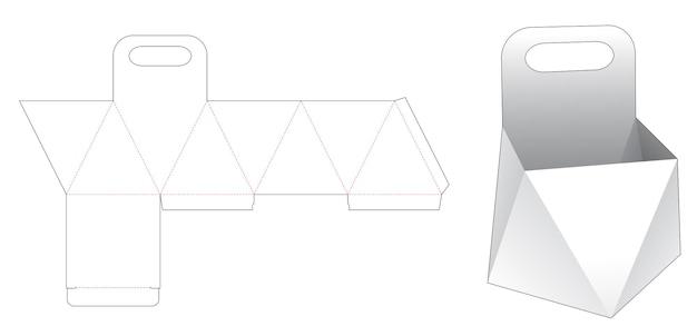 Cardboard prism with handle die cut template