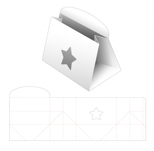 Cardboard purse with star window die cut template