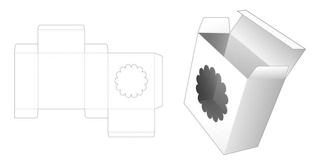 段ボールの長方形のボックスに花の窓ダイカットテンプレート