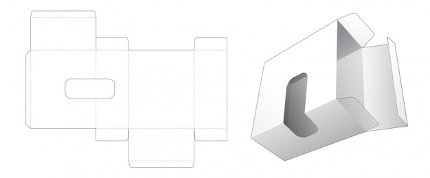 段ボールの長方形の箱、ウィンドウダイカットテンプレート付き