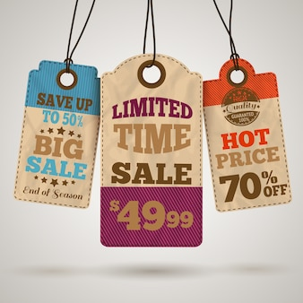 Cardboard sale promotion tags