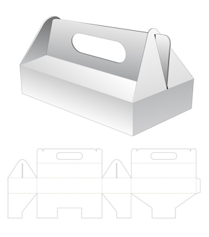 Cardboard short carton with handle die cut template