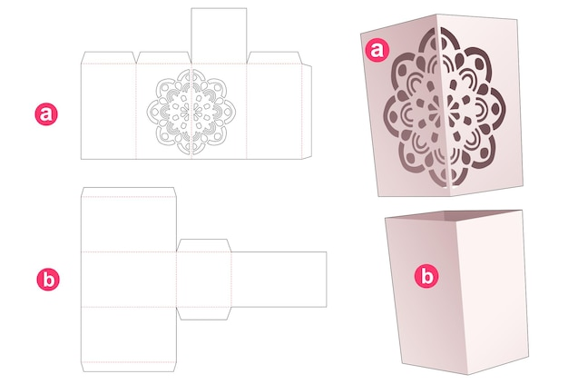 Cardboard simple box and cover with stenciled mandala die cut template