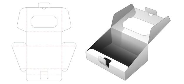 Cardboard slope flip box die cut template