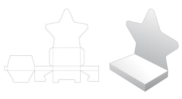 골판지 별 모양의 스탠드 디스플레이 다이 컷 템플릿 프리미엄 벡터