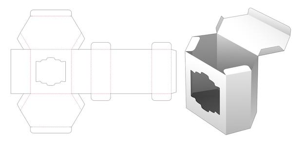 Cardboard tall hexagonal box with vintage window die cut template