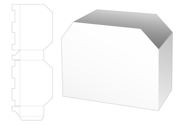 Cardboard trapeziod document die cut template
