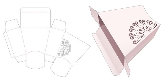 Картонная коробка в форме трапеции с высеченным шаблоном в виде фигурной мандалы