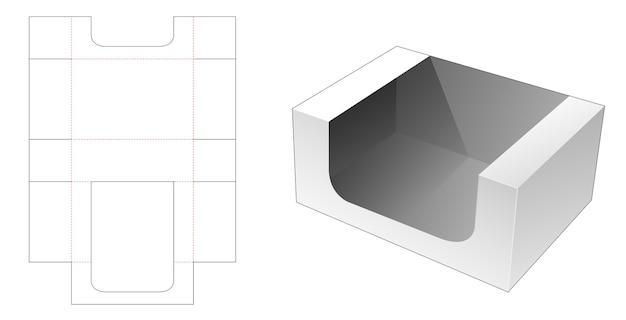 Cardboard tray box die cut template