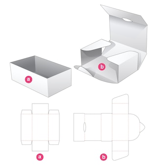Cardboard tray box and wrapped cover die cut template