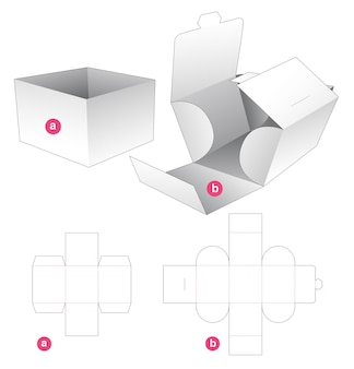 Cardboard tray with wrapped cover die cut template