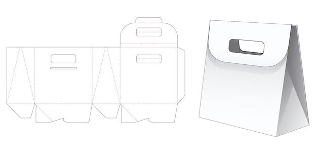 Cardboard triangular bag with flip and handle die cut template