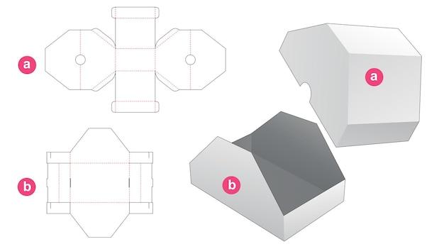Cardboard triangular top box and lid die cut template