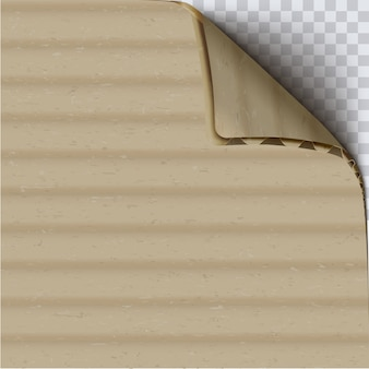 Cardboard with curled corner realistic vector square background. brown corrugated layered carton surface close up 3d illustration. clear craft paper. beige paperboard texture
