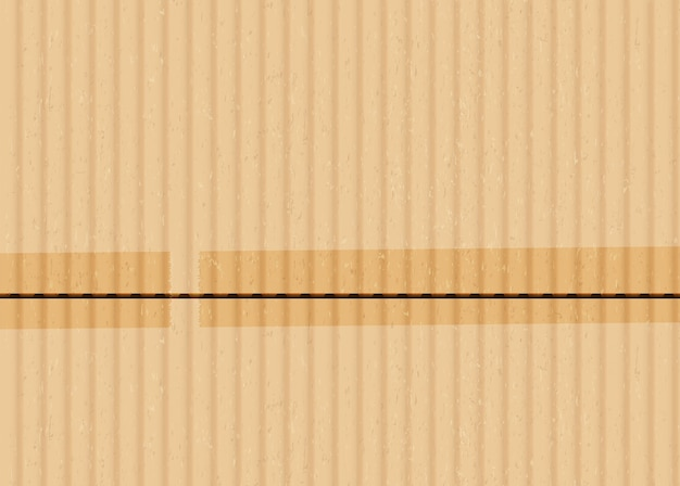 Cardboard with sticky tape realistic vector background. brown corrugated carton surface illustration. wrapping material with adhesive tape pieces. beige paperboard texture