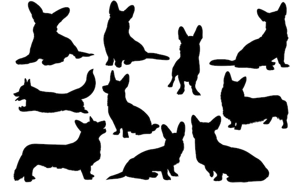 Cardigan welsh corgi dog silhouette