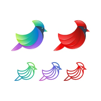 Cardinal bird logo design illustration concept.