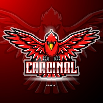 Cardinal bird mascot for gaming logo