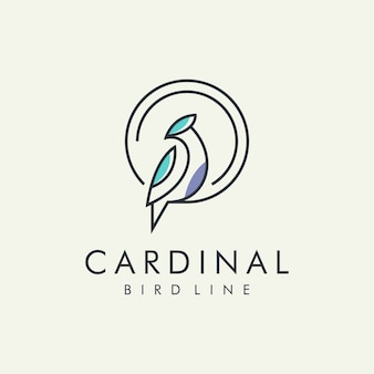 Cardinal bird modern line logo