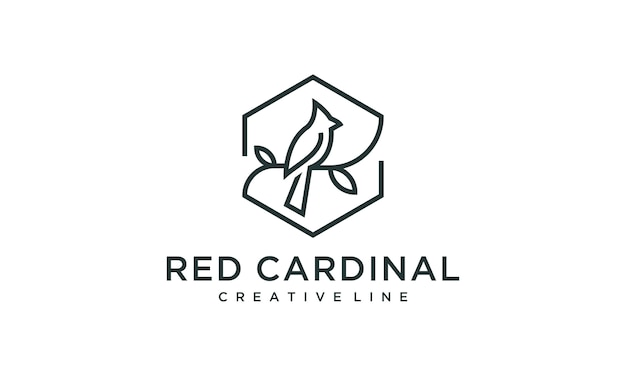 Cardinal bird sign outline logo illustration