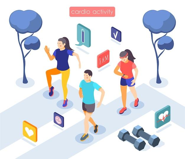 カーディオアクティビティトレーニングセッションアプリの等角図 無料ベクター