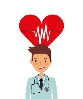 Сердечно-сердечный и медицинский значок мультфильма врача