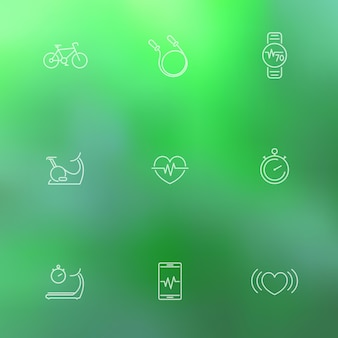 Cardio, heart training, fitness, health line icons on blur green background